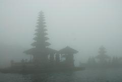 Pura Bratan in the mist