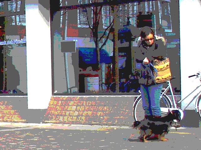 Handlesbanken booted swedish Lady with her dog /  La Dame bottée Handlesbanken avec son petit chien mignon -  Ängelholm / Suède - Sweden.   - 23-10-2008- Postérisation