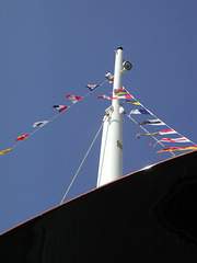 flag decorating the boat