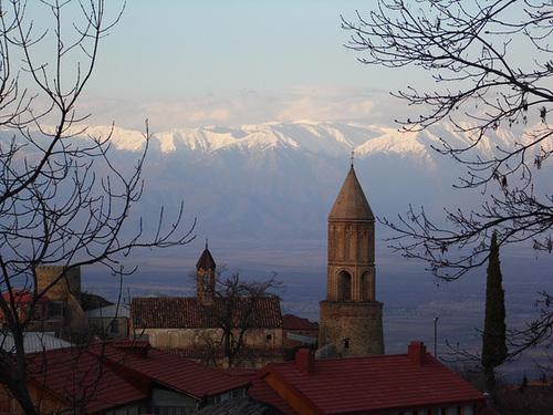 Evening Sun Hitting the Caucasus Mountains