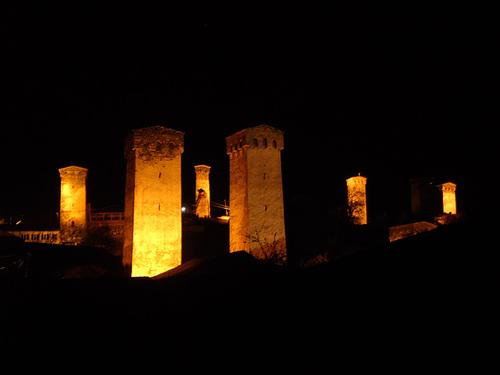 Towers of Svaneti at Night