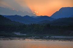 Sunset at the Mekong riverbank