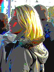Electric Swedish blonde in chunky heeled boots /  Suédoise blonde électrique en bottes de cuir à talons trapus  / Postérisation