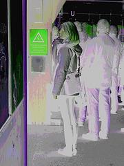 Electric Swedish blonde in chunky heeled boots /  Suédoise blonde électrique en bottes de cuir à talons trapus / Négatif RVB postérisé