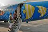 Boarding the plane to Bangkok
