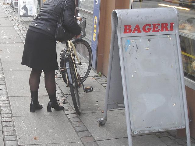 Bageri blonde Danish mature biker in chunhy hammer heeled boots /  Copenhagen, Denmark - 19-10-2008