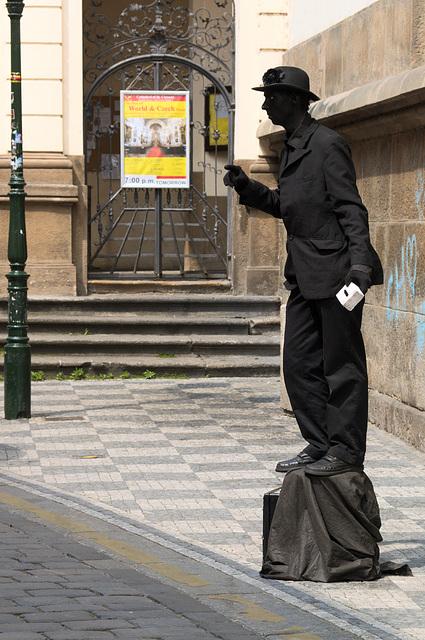 Man in Black - Street performer in Prague