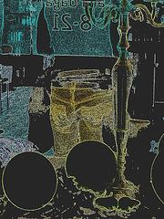 Candelabra eyesight /  Mauve balloons and readhead swedish Lady in jeans /  Assortiment de jeans et ballons mauves - Contours couleurs en négatif