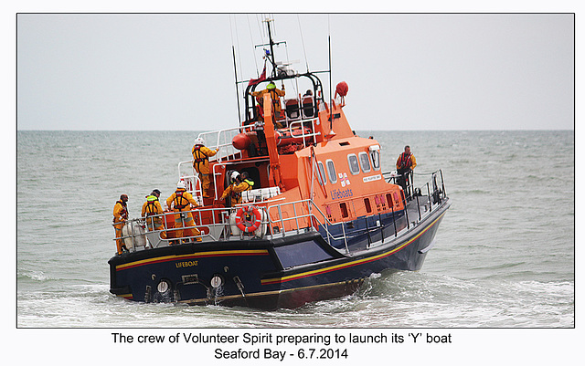 Preparing to launch the Y boat - RNLI & Coastguard Joint Exercise - Seaford Bay - 6.7.2014