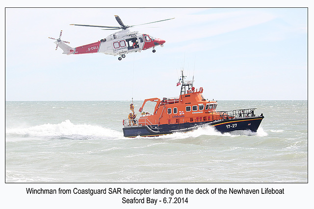 Winchman lands on Lifeboat - RNLI & Coastguard Joint Exercise - Seaford Bay - 6.7.2014