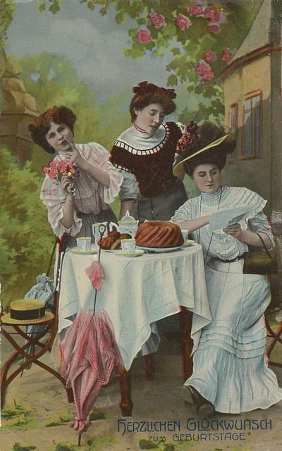 Damen mit Gugelhupf