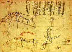 desegnis Leonardo da Vinci (La birdohomo)