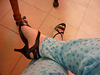 Mon amie Christiane avec permission /Essai en pyjama  / Nouvelle sandales à talons hauts.