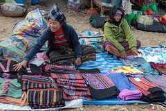 Textile vendor women selling Pha Sin
