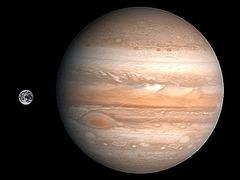 Komparo de Jupitero kaj Tero
