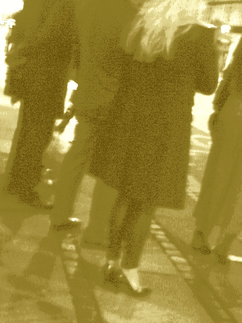 Blurry Danish blond Lady in black high heels shoes /  Copenhague -  25 octobre 2008- Sepia
