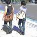 Jeune beauté asiatique en talons hauts / Short young Asian in jeans and high heels- Halifax, NS. Canada - Juin 2008 - Postérisation