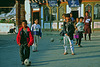 Children playing soccer in Mongar