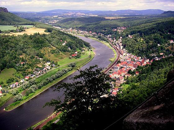 Blick von der Festung Königstein auf das Elbtal