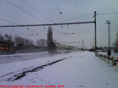 Express in the Snow at Nadrazi Hostivar, Prague, CZ, 2010