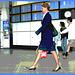 Hôtesse de l'air bien chaussée. /  Tall & slim beautiful flight attendant in high heels - Aéroport de Montréal- 18 octobre 2008 -  Postérisation