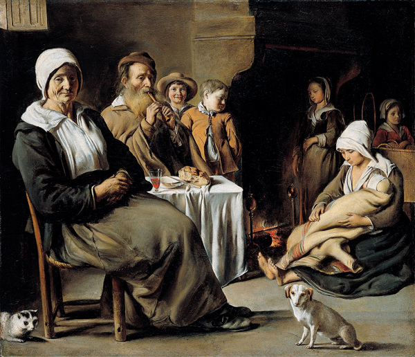 Peasant family with Old Flute Player, de Louis Le Nain