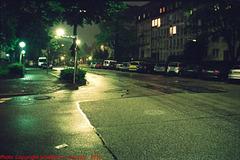 Old Tram Tracks in St. Paul's Platz at Night, Picture 2, Munchen (Munich), Bayern, Germany, 2010