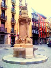 Pamplona: fuente en la calle Navarrería.