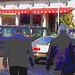 Dame blonde du bel âge en bottes de cuir à talons plats / Blond swedish mature Lady in chunky flat heeled boots - Båstad / Sweden - Suède.  25 octobre 2008 - Négatif RVB - Postérisation