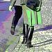 Dame blonde du bel âge en bottes de cuir à talons plats / Blond swedish mature Lady in chunky flat heeled boots - Båstad / Sweden - Suède.  25 octobre 2008. - Postérisation