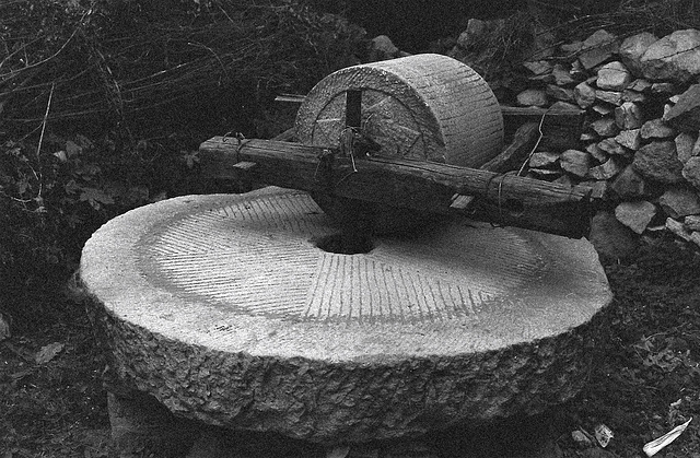 Traditional stone mill grinder in rural China
