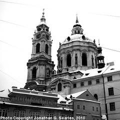 Miklasky Chram in the Snow, Malostranske Namesti, Prague, CZ, 2010