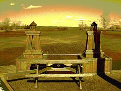 Pique-nique désaltérant / Thirst-quenching picnic - Hawksbury /  Ontario, CANADA.  4 avril 2010 - Sepia postérisé