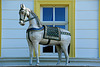 Ein weißes Pferd auf dem Dach