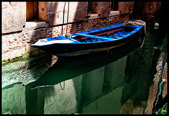 blue boat in green water