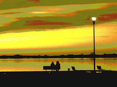 Coucher de soleil / Sunset   - Ville de Lery, Québec. CANADA - 25-04-2010- Sepia postérisé