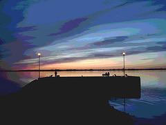 Coucher de soleil / Sunset   - Ville de Lery, Québec. CANADA - 25-04-2010 - Postérisation