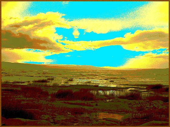 Coucher de soleil- St-Jean-Port-Joli - Qc, CANADA. 21 juillet 2005. - Sepia postérisé avec bleu photofiltré