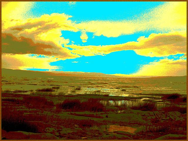 Coucher de soleil / Sunset - St-Jean-Port-Joli - Qc, CANADA. 21 juillet 2005. - Sepia postérisé avec bleu photofiltré