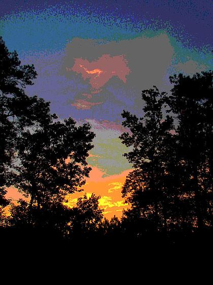 Lever de soleil / Sunrise - Pocomoke, Maryland. USA - 18 juillet 2010 - Couleurs ravivées en postériation