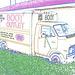Boot outlet truck / Camion bien botté - Hillsboro, Texas. USA - 28 juin 2010- Contours de couleurs ravivées