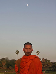 PICT7076ac Angkor Buddhist Monk Posing under the Moon