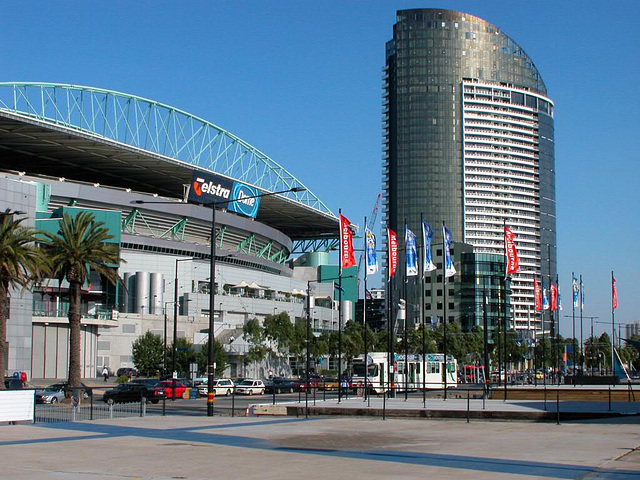 Docklands Stadium and the tower