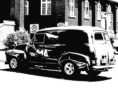 Voiture Lambton / Lambton vehicle - Ormstown, Qc. CANADA - 13 juin 2010 - Bichromie en N & B