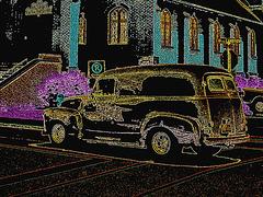 Voiture Lambton / Lambton vehicle - Ormstown, Qc. CANADA - 13 juin 2010- Contours couleurs en négatif