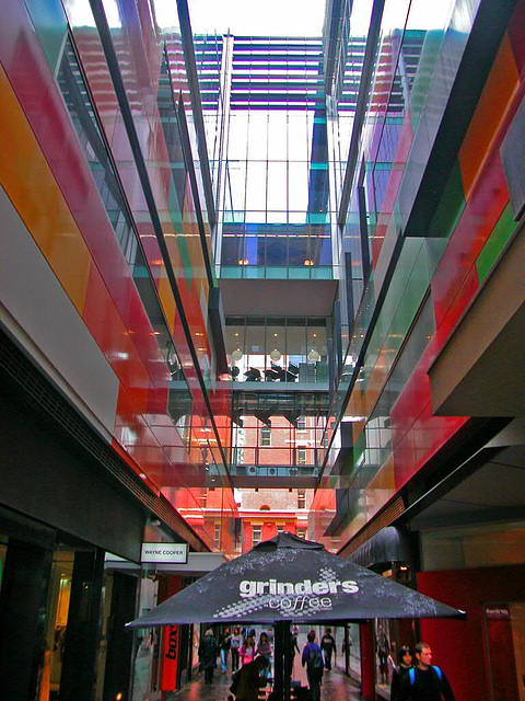 Inside a business complex