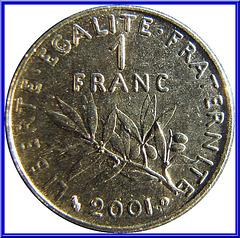 1 Franc Semeuse 2001 Envers