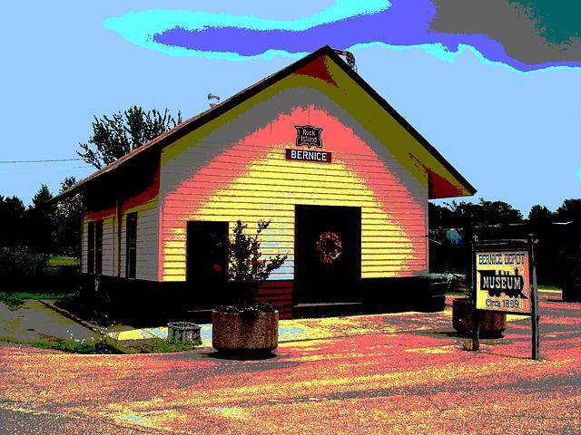 Bernice, Louisiane. 07-07-2010 - Museum circa 1899 - Postérisation et ciel bleu photofiltré