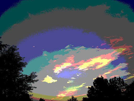 Coucher de soleil / Sunset - Pocomoke, Maryland. USA - 18 juillet 2010-  Postérisation arcencielée / Photofiltered rainbow