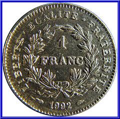 1 Franc République 1992 Envers